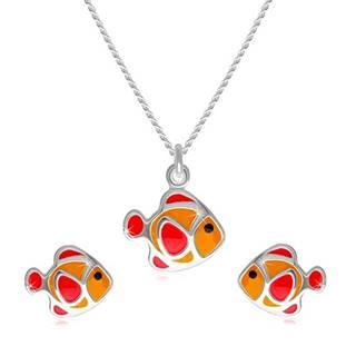 Dvojdielna sada zo striebra 925 - náhrdelník a náušnice, červeno-oranžová rybička