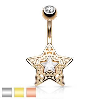 Oceľový piercing do bruška - vyrezávaná hviezdička s ligotavým zirkónom uprostred - Farba piercing: Medená