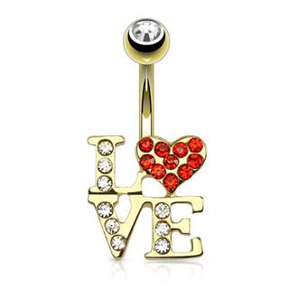 Piercing do pupku z ocele v zlatej farbe - nápis LOVE, srdiečko, zirkón v guľôčke