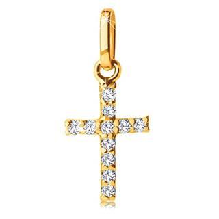 Prívesok zo žltého zlata 585 - krížik vykladaný trblietavými čírymi zirkónikmi