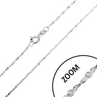 Retiazka zo striebra 925 - zatočená línia, špirálovito spájané očká, šírka 1,2 mm, dĺžka 550 mm