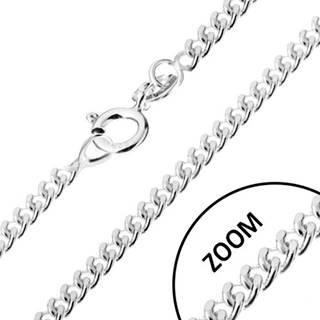 Retiazka zo zatočených oválnych očiek, striebro 925, šírka 1,7 mm, dĺžka 500 mm