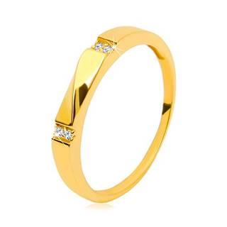 Zlatý prsteň 585 - číre zirkóny, lesklá vlnka, hladké ramená, 3 mm - Veľkosť: 49 mm