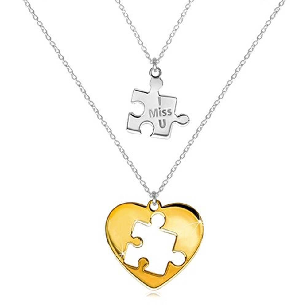 Šperky eshop Dvojset zo striebra 925 - dva náhrdelníky, puzzle s nápisom, srdce s vyrezaným puzzle uprostred