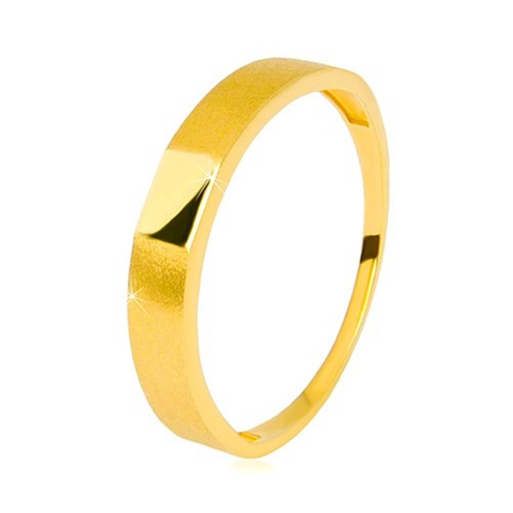 Šperky eshop Obrúčka v 14K zlate - lesklý obdĺžnik uprostred, ramená so saténovým povrchom, 3,5 mm - Veľkosť: 58 mm