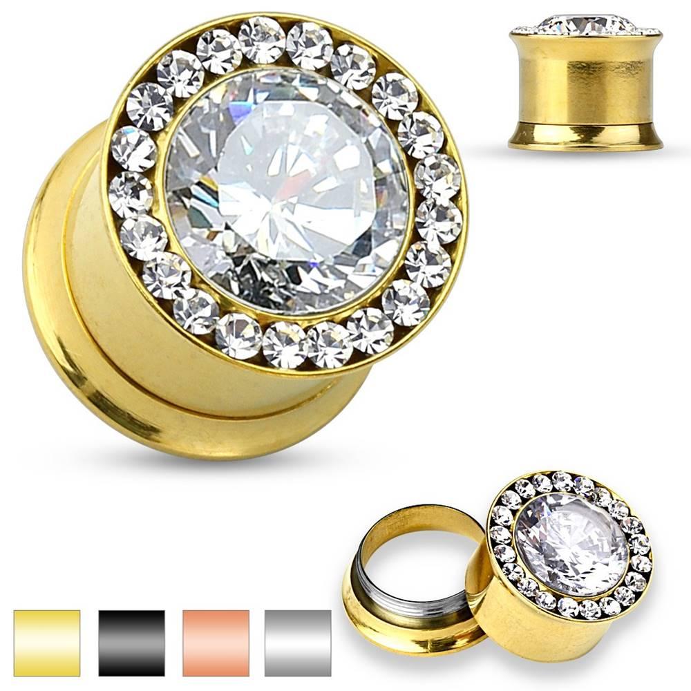 Šperky eshop Oceľový plug do ucha - veľký číry zirkón, malé zirkóniky, 6 mm - Farba piercing: Čierna