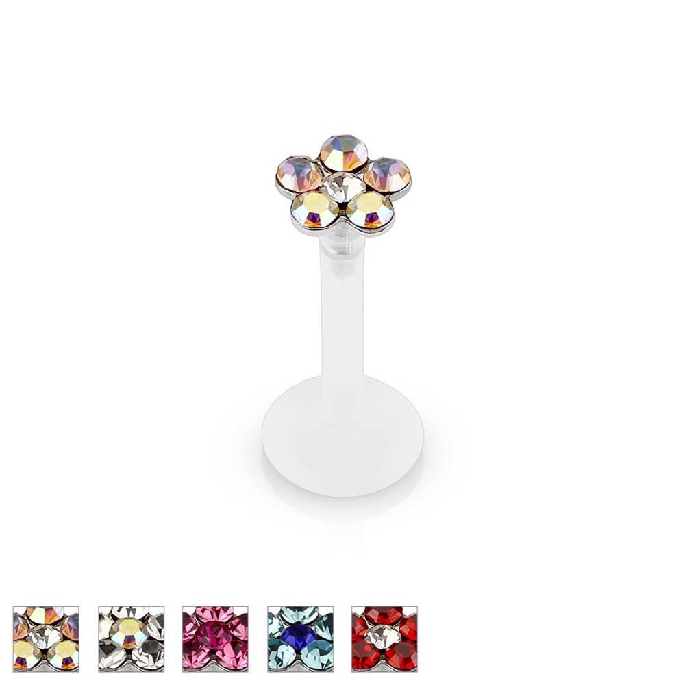 Šperky eshop Piercing do brady a pery so zirkónovým trblietavým kvetom z bio-flexu, 6 mm - Farba zirkónu: Červená - R