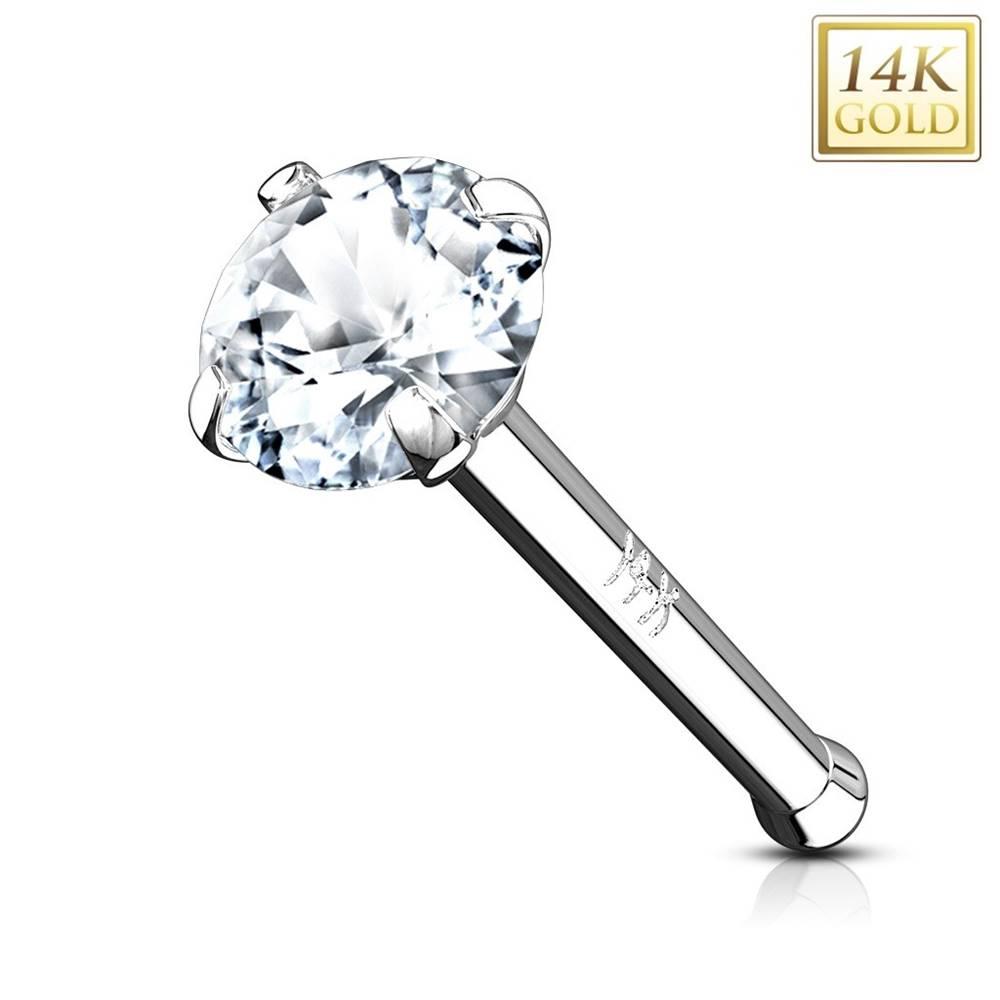 Šperky eshop Piercing do nosa z bieleho 14K zlata - rovný tvar, číry okrúhly zirkón, 3 mm