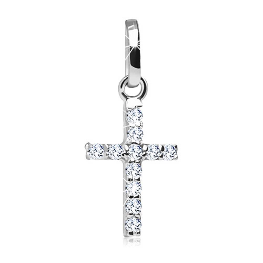 Šperky eshop Prívesok v tvare krížika v bielom 14K zlate - úzke ramená zdobené lesklými zirkónmi