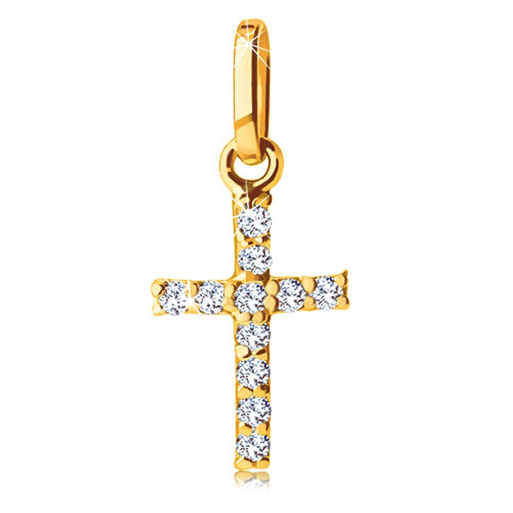 Šperky eshop Prívesok zo žltého zlata 585 - krížik vykladaný trblietavými čírymi zirkónikmi