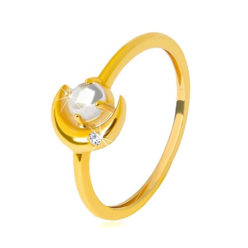 Šperky eshop Prsteň v žltom 9K zlate - polmeciac so zirkónikom, okrúhly zirkón v tvare kabošonu - Veľkosť: 51 mm