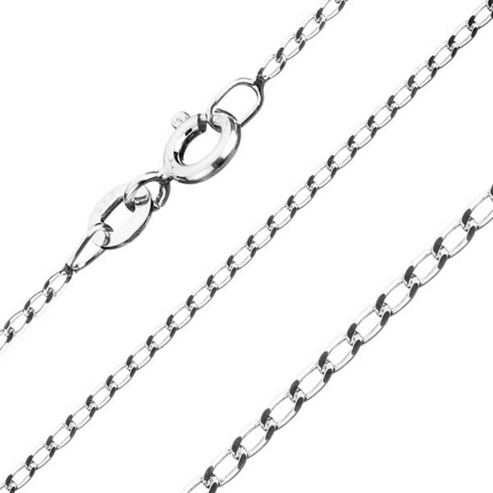 Šperky eshop Retiazka zo striebra 925 - hladké podlhovasté očká, šírka 1 mm, dĺžka 500 mm