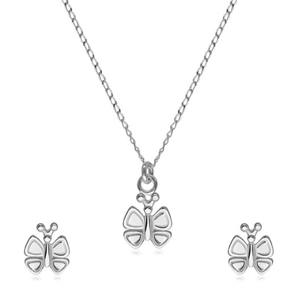 Šperky eshop Strieborná 925 dvojdielna sada - náušnice a náhrdelník, motýlik s ozdobenými krídelkami