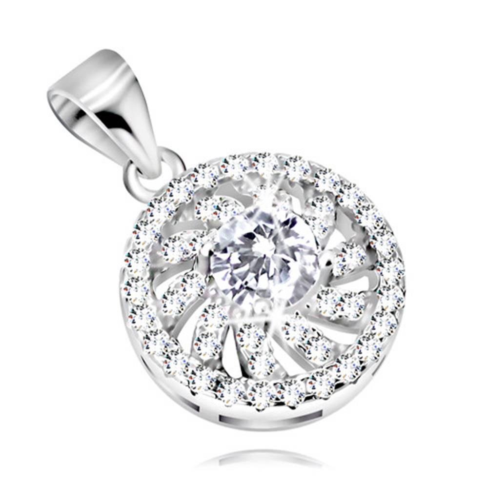 Šperky eshop Strieborný 925 prívesok - ligotavý kvet s čírymi obrysmi lupeňov, okrúhly zirkón uprostred