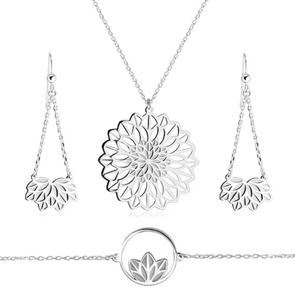 Šperky eshop Strieborný trojset 925 - náhrdelník, náramok, náušnice, motív kvetu s vykrojenými lupeňmi