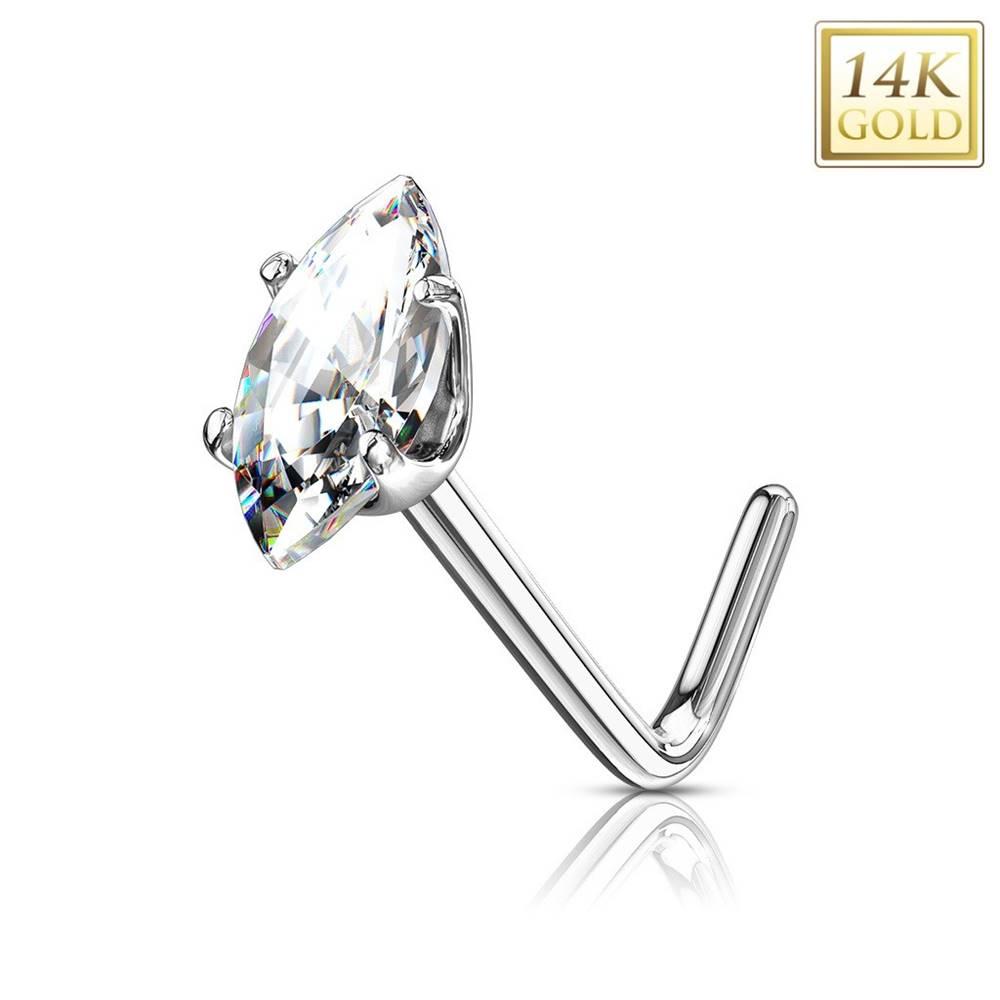 Šperky eshop Zlatý 14K zahnutý piercing do nosa - číre zirkónové zrnko, biele zlato