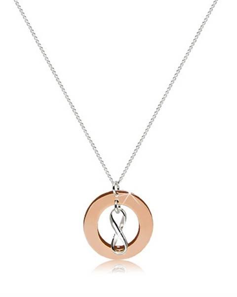 """Šperky eshop Náhrdelník zo striebra 925 - kontúra """"INFINITY"""" a obrys plochého kruhu medenej farby"""