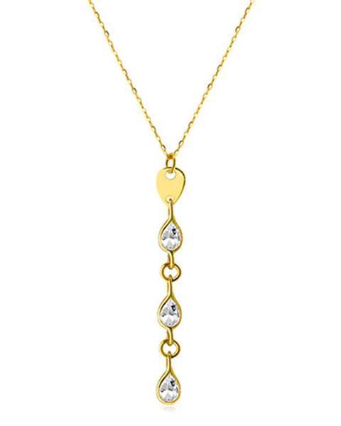 Šperky eshop Náhrdelník zo zlata 585 - tri zirkónové kvapky v čírom farebnom odtieni