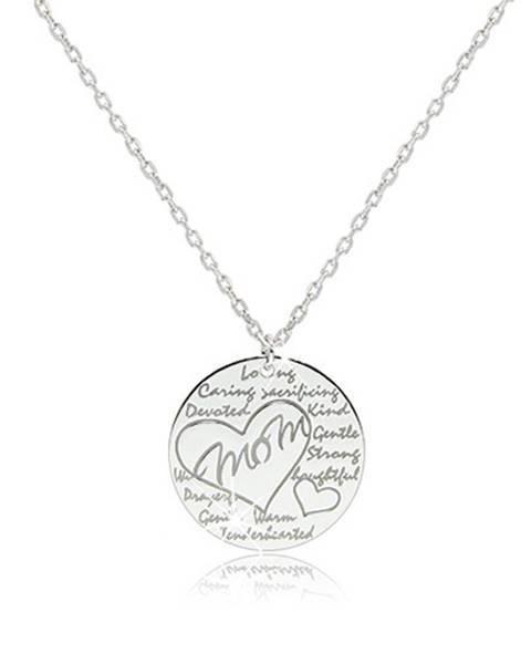 """Šperky eshop Ródiovaný strieborný náhrdelník 925 - lesklý krúžok s nápisom """"Mom"""" v kontúre srdca"""