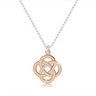Lesklý náhrdelník zo striebra 925 - keltský uzol v ružovozlatom farebnom odtieni