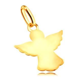 Lesklý zlatý 585 prívesok - anjelik s vyrezávanými rozprestretými krídlami a rúchom