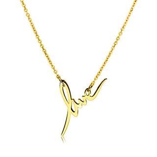 """Náhrdelník zo striebra 925 v zlatom farebnom odtieni - lesklý ozdobný nápis """"love"""""""