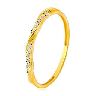 Prsteň zo žltého 14K zlata - číra zirkónová kontúra popretkávaná lesklou a hladkou líniou - Veľkosť: 48 mm