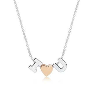 """Ródiovaný náhrdelník zo striebra 925 - motív """"I love U"""" tvorený písmenami """"I"""" a """"U"""" a srdiečkom"""
