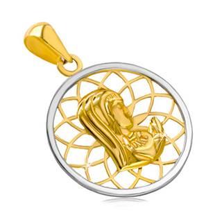Ródiovaný zlatý 14K prívesok - kontúra kruhu s Pannou Máriou uprostred