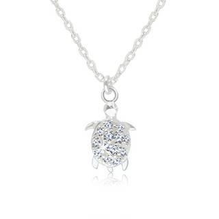 Strieborný 925 náhrdelník - lesklá korytnačka s trblietavým zirkónovým pancierom