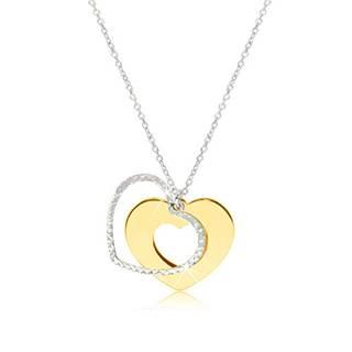 Strieborný náhrdelník 925 - lesklé srdiečko zlatej farby s trblietavou kontúrou