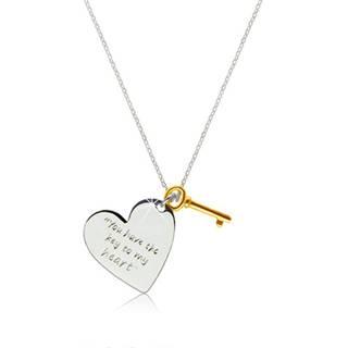 """Strieborný náhrdelník 925 - srdce s nápisom """"You have the key to my heart"""", kľúčik zlatej farby"""
