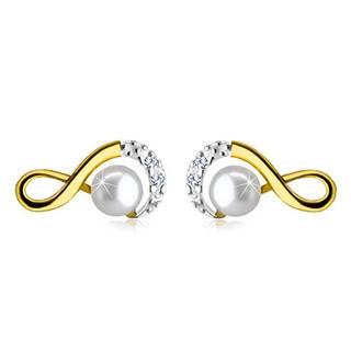 Zlaté náušnice 585 - symbol nekonečna ozdobený zirkónikmi a okrúhlou perlou, puzetky