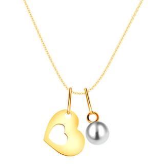 Zlatý náhrdelník 375 - silueta srdca s výrezom uprostred, okrúhla biela perla