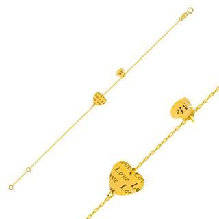 """Zlatý náramok 585 - dve lesklé srdiečka s nápismi """"Love"""" a """"Me"""""""