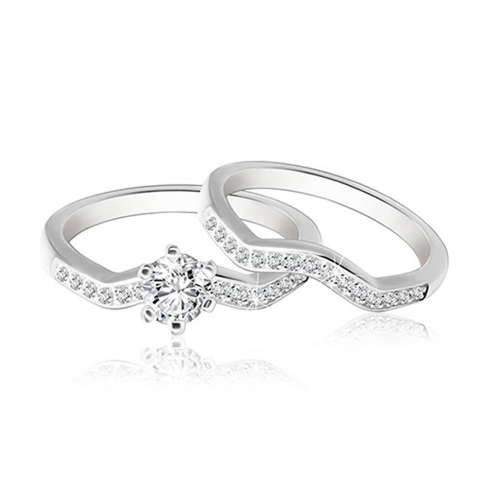 Šperky eshop Dvojset striebornej obrúčky a prsteňa 925 - zvlnená zirkónová línia, ligotavý okrúhly zirkón  - Veľkosť: 49 mm