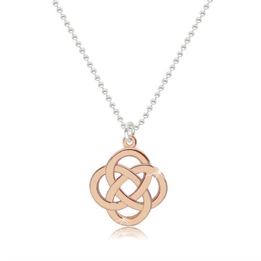Šperky eshop Lesklý náhrdelník zo striebra 925 - keltský uzol v ružovozlatom farebnom odtieni