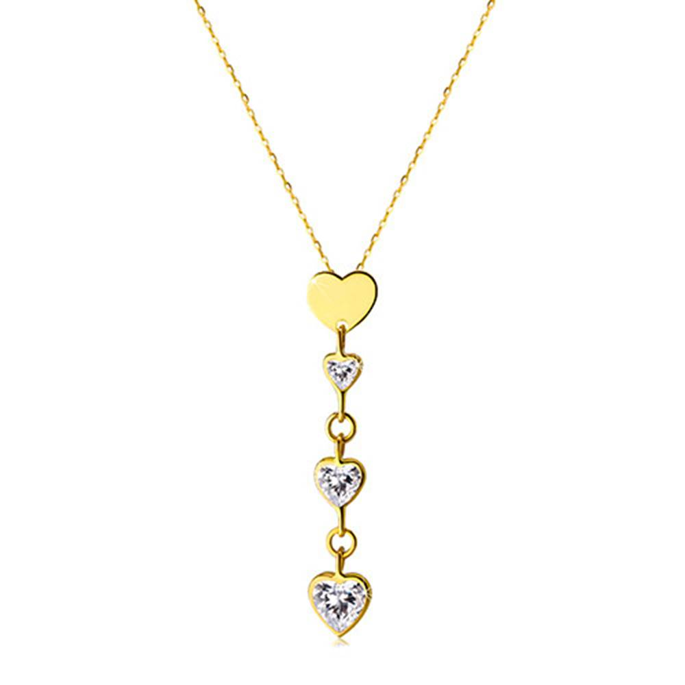 Šperky eshop Náhrdelník v žltom 14K zlate - tri zirkónové srdiečka v čírom farebnom odtieni