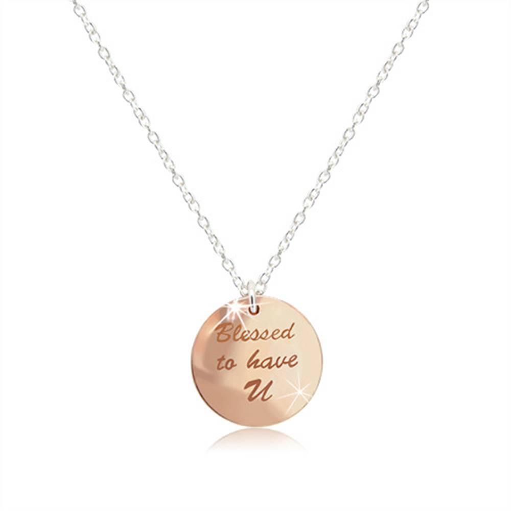 """Šperky eshop Náhrdelník zo striebra 925 - medailónik medenej farby, nápis """"Blessed to have U"""", lesklé srdiečko"""