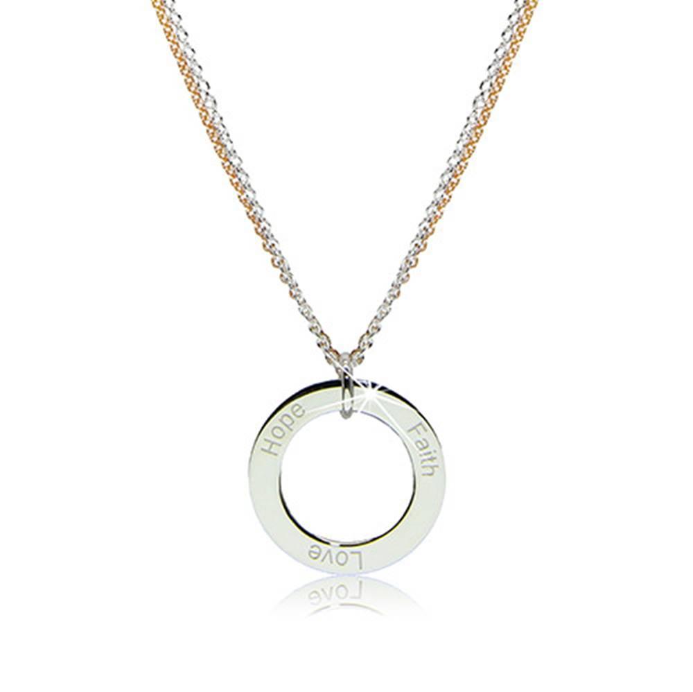 """Šperky eshop Náhrdelník zo striebra 925 - obrys kruhu s nápismi """"Faith"""", """"Love"""" a """"Hope"""""""
