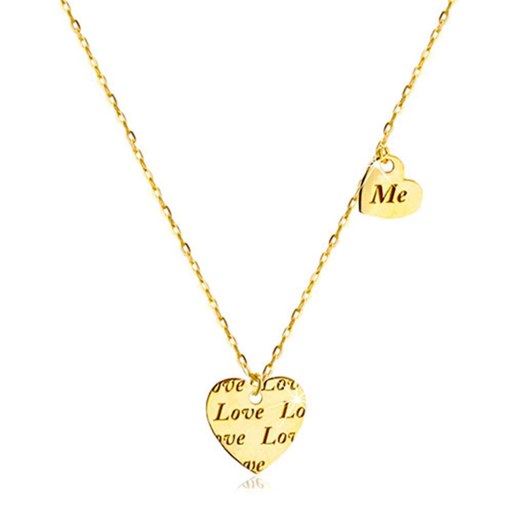 """Šperky eshop Náhrdelník zo zlata 585 - dve súmerné srdiečka s nápisom """"Love"""" a """"Me"""""""