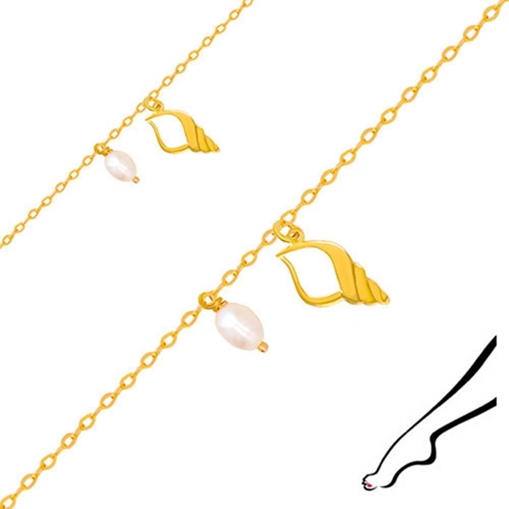 Šperky eshop Náramok na nohu zo žltého 14K zlata - kontúra mušle s výrezom, dve oválne perly
