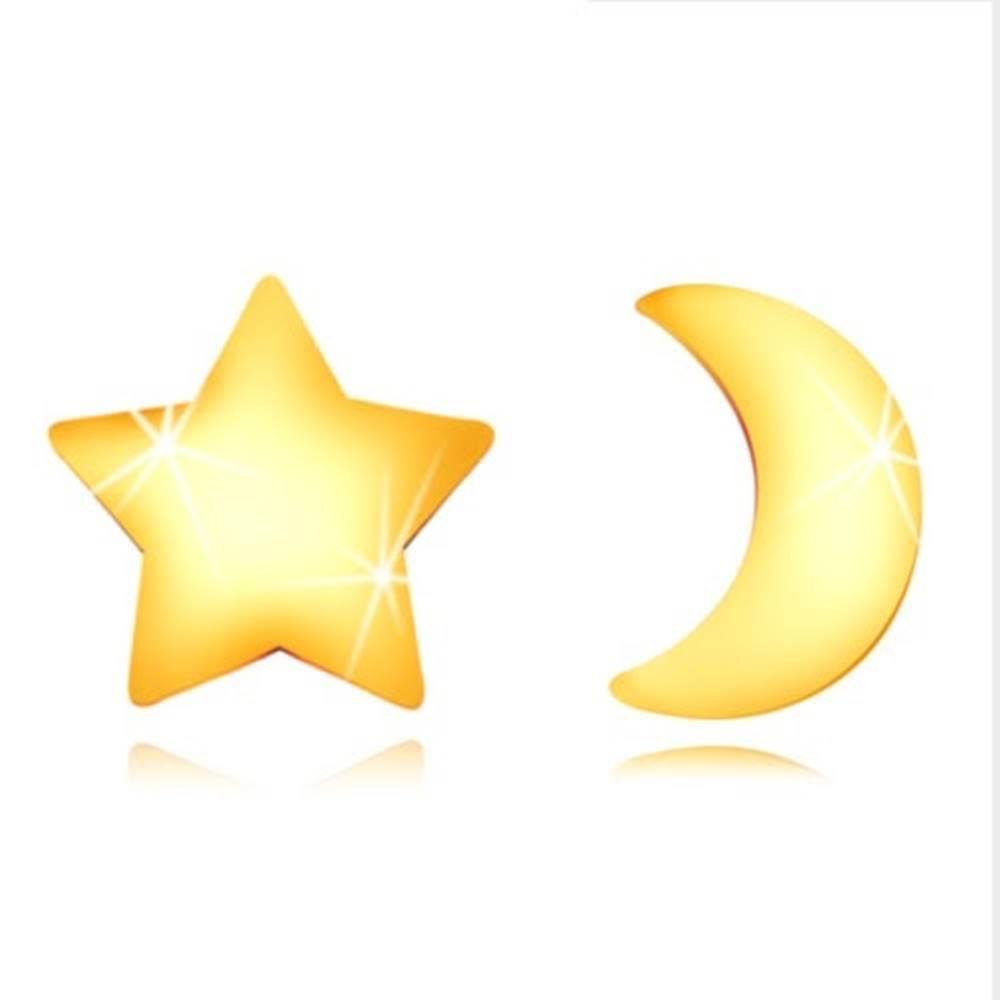 Šperky eshop Náušnice zo zlata 585 - kontúra lesklého mesiačika a súmernej hviezdičky, puzetky