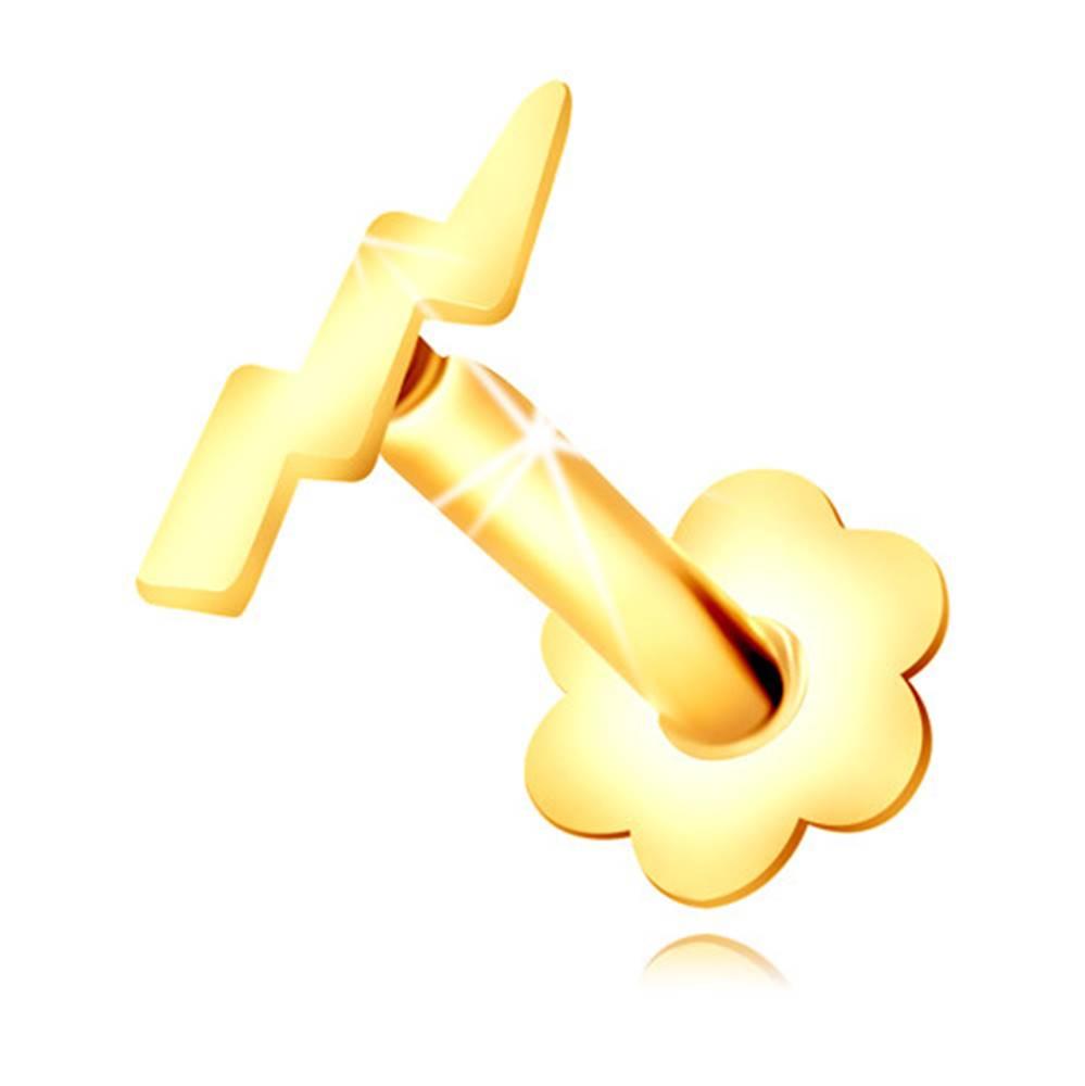Šperky eshop Piercing do nosa v žltom zlate 375 - kontúra blesku a lesklého symetrického kvietku