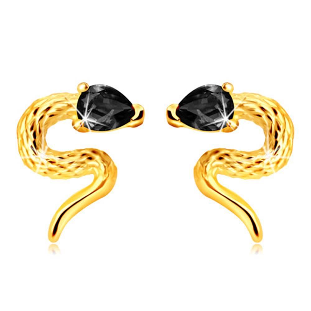 Šperky eshop Puzetové náušnice zo žltého 9K zlata - zatočený hadík so zirkónovou hlavičkou čiernej farby