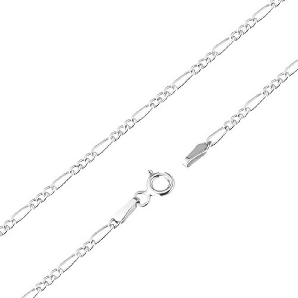 Šperky eshop Retiazka z bieleho 9K zlata - tri oválne očká a jedno podlhovasté, 550 mm