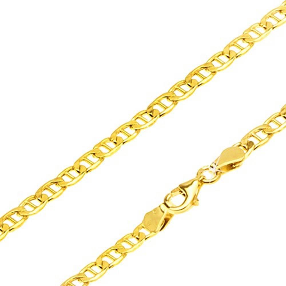 Šperky eshop Retiazka zo žltého 14K zlata - ploché elipsovité očká, palička uprostred, 600 mm