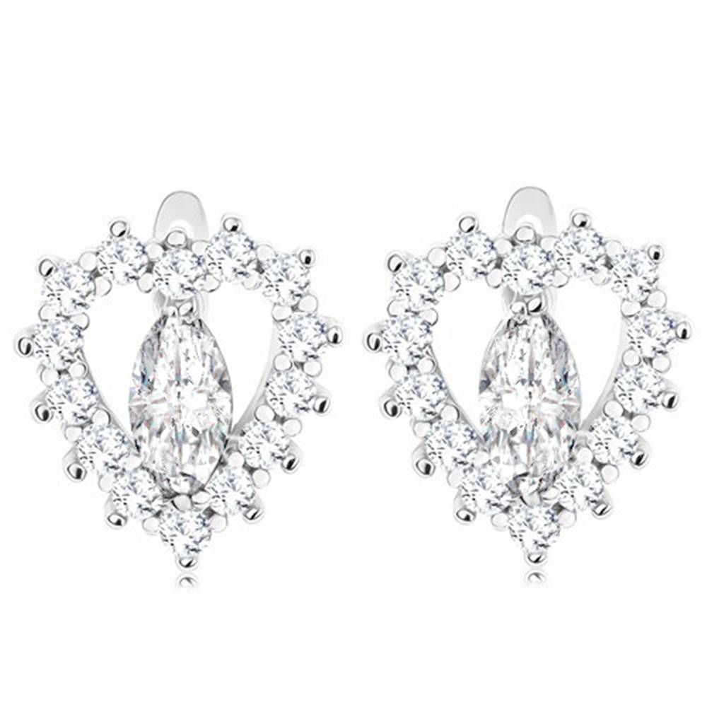 Šperky eshop Ródiované strieborné 925 náušnice - číra kontúra srdiečka, zirkónové zrnko čírej farby