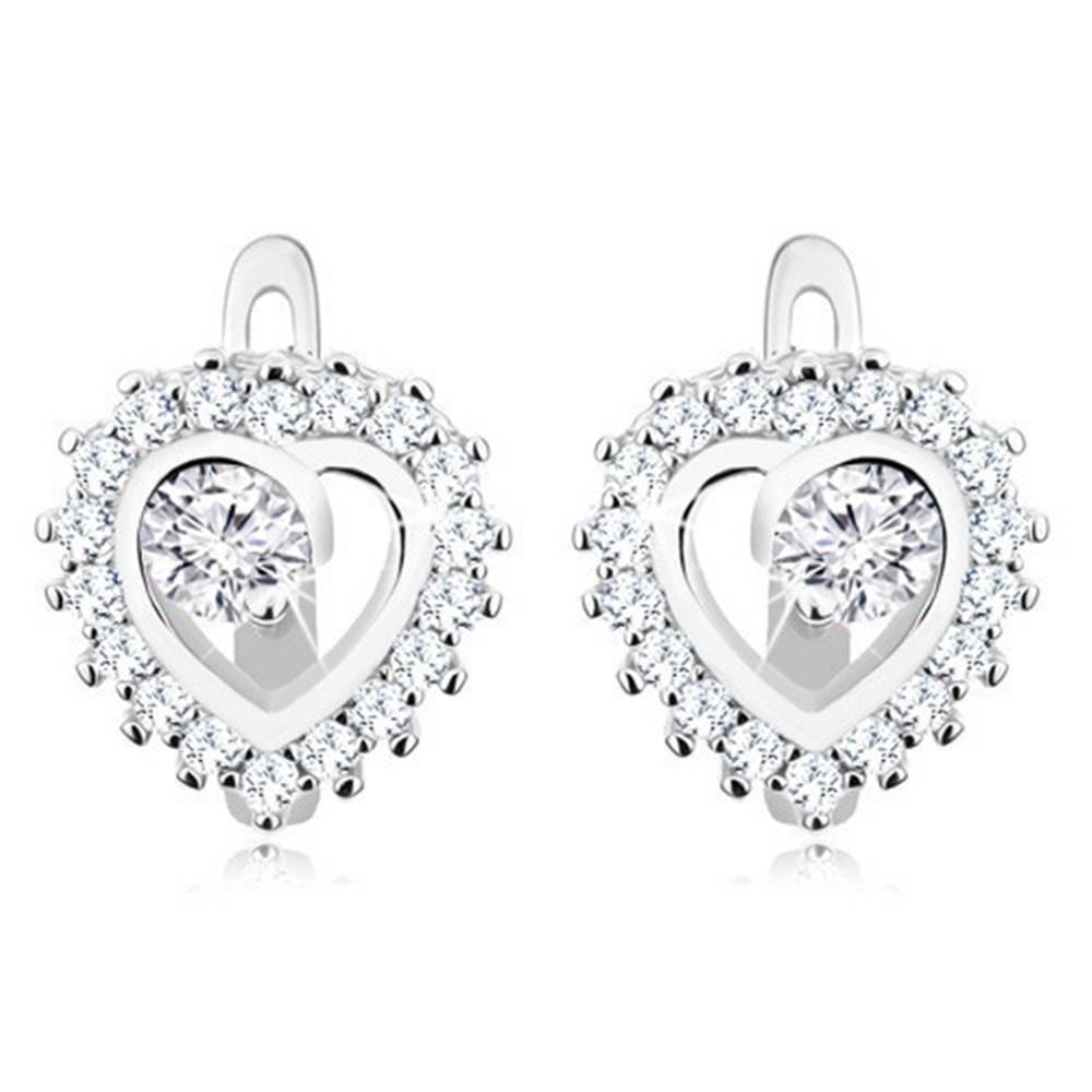 Šperky eshop Strieborné 925 náušnice - ligotavý obrys srdiečka, okrúhly číry zirkón uprostred