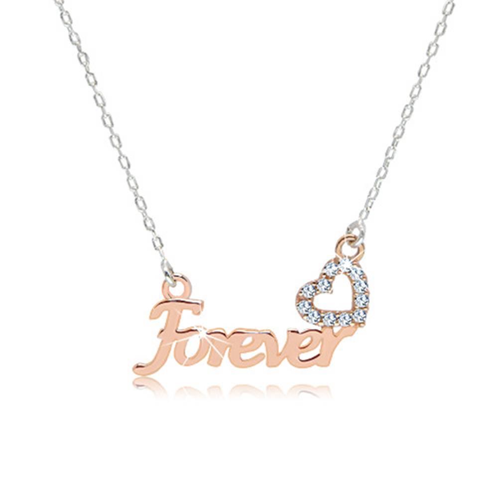 """Šperky eshop Strieborný náhrdelník 925 - nápis """"Forever"""" v ružovozlatom odtieni, zirkónové srdiečko"""